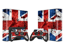 British Flag Vinyl Skin Sticker Protector for Xbox 360 E for Microsoft Xbox 360E Slim with 2pcs Controllers Cover Gamepad Decal