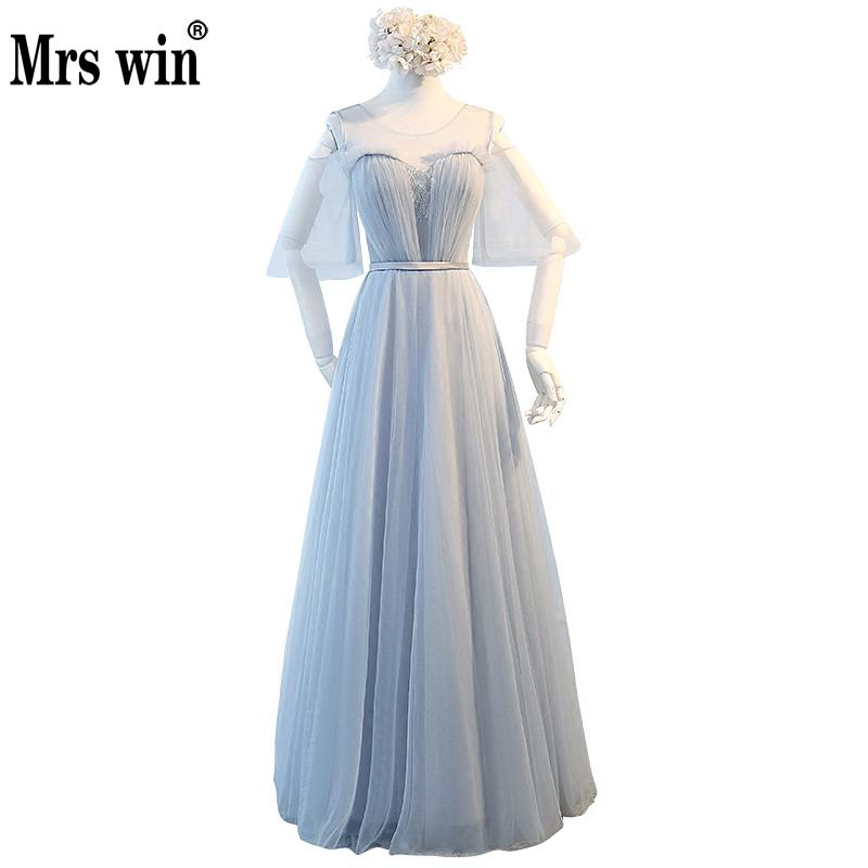 Bridesmaid     Dress   2018 The A-line Short Sleeve Off The Shoulder Princess Gown Classic Grey Blue 4 Styles Coral   Bridesmaid   Gowns