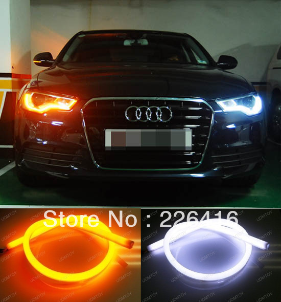 2x Tube Style White Amber Switchback Headlight LED Strip Drl Daytime Light For Volkswagen VW ...