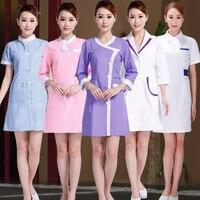 17 Designs Beautician Work Clothes Female Spring Summer Nurse Uniform Pharmacy Work Uniforms New Drugstore Dress