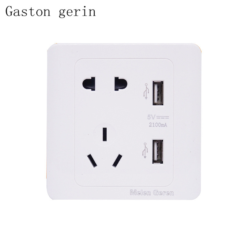 2 1A Dual USB Wall Socket Charger for Mobile phone AC DC Power Adapter Plug Outlet Panel Switch 5 hole Socket 10A 86MM 86MM in Electrical Sockets from Home Improvement