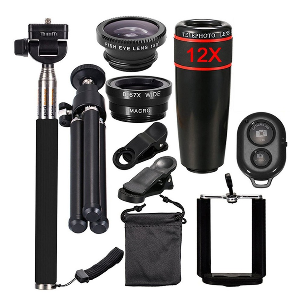 10in1 Camera Mobile Phone Lens Kit 12x Zoom Telephoto Lenses For Iphone And Android Smartphones Monopod Bluetooth Shutter Tripod Elegant Appearance