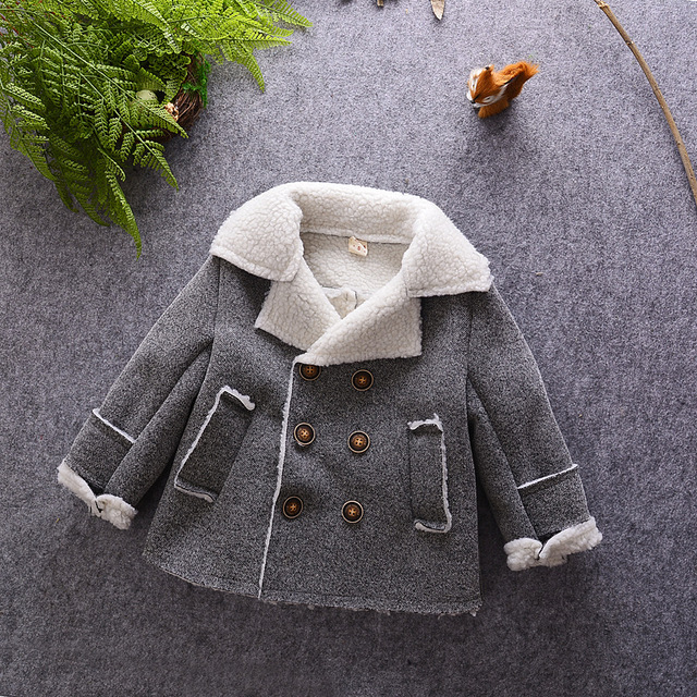 toddler baby boy wool coat sheep velvet turn down England style jackets for girls casacos cashmere coat for girls windbreaker