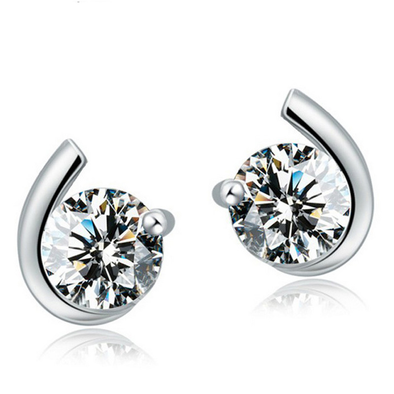 Wholesale Jewelry Silver Plated Plated Full Crystal Ear Stud Earrings Ear Ring Pendant ED14