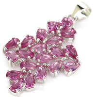 Real 2.7g Guarantee 925 Solid Sterling Silver Luxury Pink Tourmaline Pendant Wedding Woman's 36x22mm