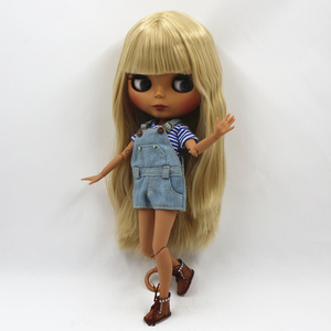 Image 3 - Special Price Blyth Joint body Nude Doll straight blond hair with/without bangs new matte shell dark Skin 30cm Suitable For DIY