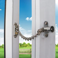 Lockable Window Security Chain Lock Door Restrictor Child Safety Stainless Key