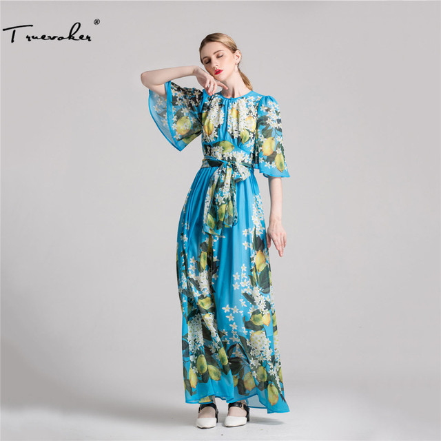 78416d13bf424 Truevoker Designer Summer Holiday Dress Women Short Sleeve Charming Lemon  Floral Printed Blue Beach Maxi Dress