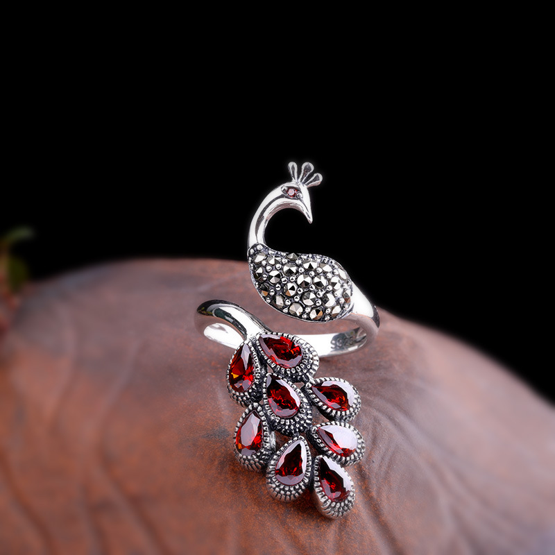 Genuine Solid Sterling Silver Peacock Ring 925 Wedding Womens Jewellery With Red Garnet Natural Stone Adjustable Fine Jewelry