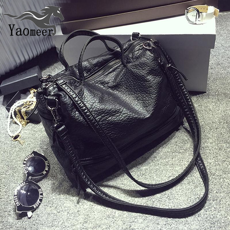 Vintage Black Waterproof Shoulder Crossboday Bag For Women Messenger Bags Female Large Motorcycle Pu Leather Handbags Soft Totes caker brand women large pu casual totes lady patchwork handbags vintage shoulder bags female panelled jumbo messenger bags