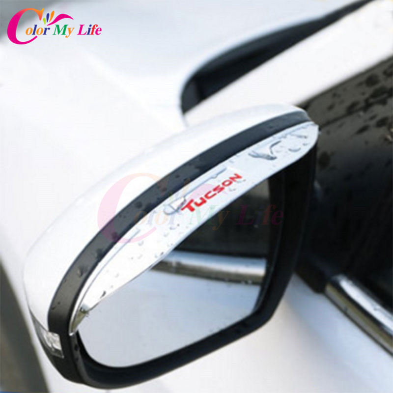 Color My Life ABS Rearview Mirror Protection Film Car Rear View Mirror Visor Sticker For Hyundai Tucson 2015 2016 2017 Covers