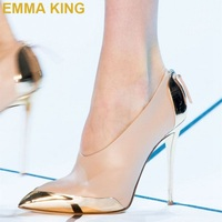 EMMA KING Gold & Nude Stiletto Heels Sexy Women Pumps Prom Shoes Pointy Toe Zip Ladies High Heels Party Shoes Summer 2019 New
