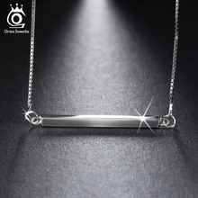 925 Sterling Silver Bar Pendant Necklaces for Men/Women