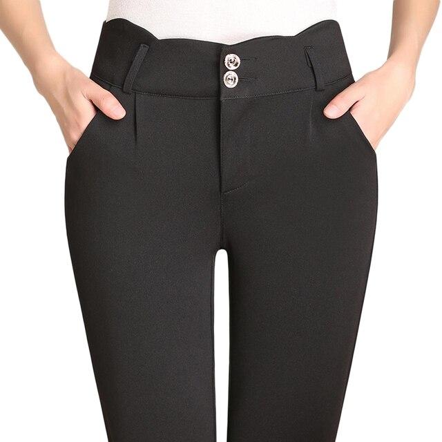 2017Fashion Plus Size 4XL Women's OL Casual Suit Pants Candy Color Pencil Pants Ladies Cotton High Waist Elastic Office Trousers