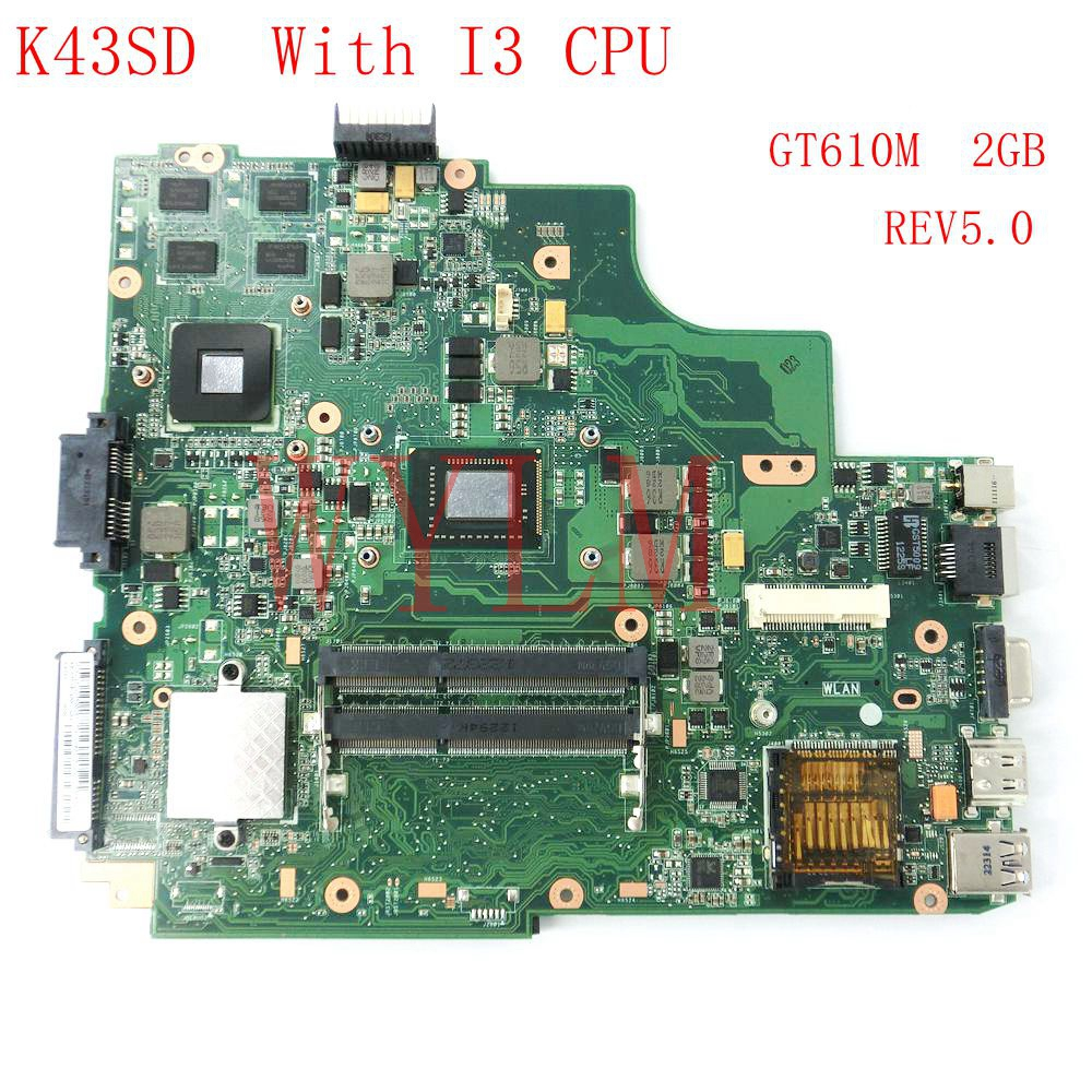 free shipping K43SD With I3 CPU GT610M 2GB mainboard REV5.0 For ASUS A43S X43S K43S K43SD Laptop motherboard 100% Tested for asus k43sd laptop motherboard processor i3 8 memory 2g mainboard 100