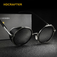 New 2017 Lady Steampunk Sunglasses Woman Eyewear Round CR 39 UV400 Fashion Polarized Goggle Cat Eye