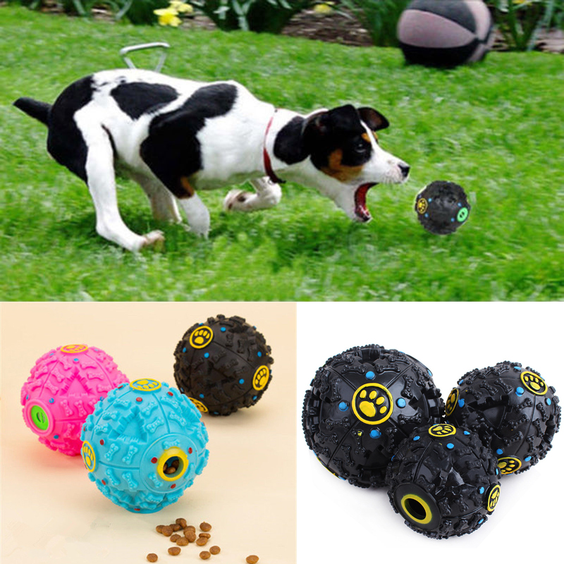 Pet Dog Leaking Food Ball Chewing Ball Toy Dispenser Squeaky Giggle Sound Training Toy Tooth Cleaning Dogs Best Partner 3 Sizes