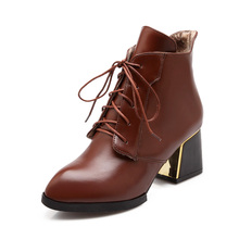 2e0b1630877 2018 Women Plus Size Winter Square 6cm High Heels Ankle Martins Boots  Leather Plush Brown Red