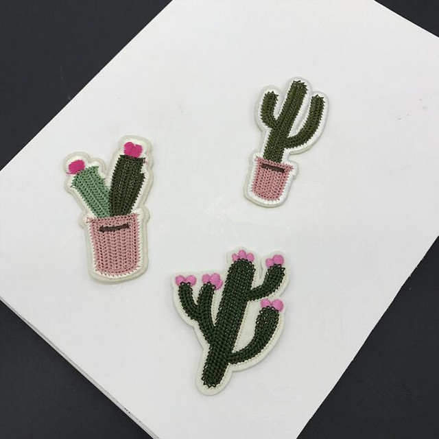 Small Cactus Patch Embroidery Cloth Stickers Patches Diy Socks Scarf