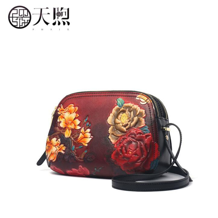 Pmsix crossbody first layer cowhide middle-aged female bag mother bag shoulder bag female 2019 new fashionPmsix crossbody first layer cowhide middle-aged female bag mother bag shoulder bag female 2019 new fashion