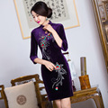 2016 Spring embroidery women dress party dress silk velvet cheongsam vestidos chinese dress chi-pao wedding Dress Size:S-3XL