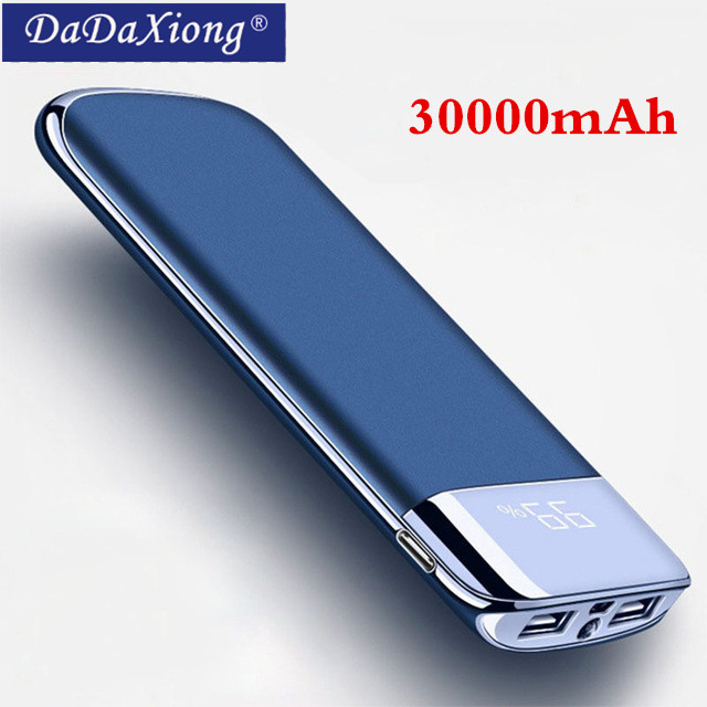 2018 30000 mah Power Bank Externe Batterie PoverBank LED Power Tragbare 2 USB handy Ladegerät für Xiao mi mi iphone X