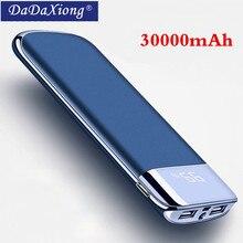 2019 30000 мАч Внешний аккумулятор повербанк светодиодный внешний аккумулятор портативный 2 USB мобильного телефона зарядное устройство для Xiaomi Mi iphone X