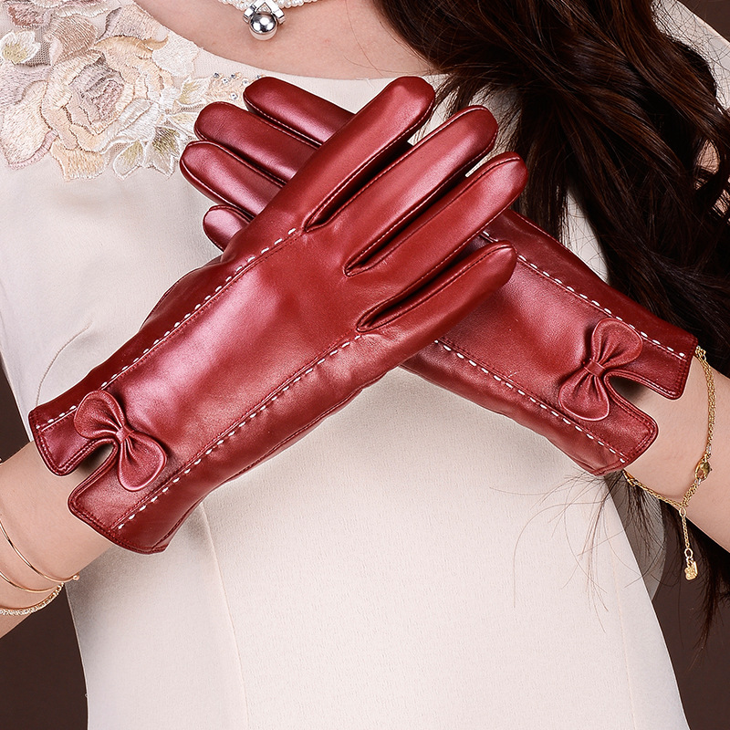 Autumn Winter Women's Gloves 100% Genuine Sheepskin Gloves Pure Natural Wool and Sheepskin Warm Lady's Winter Gloves