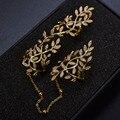 Moda Piedra de LA CZ de las mujeres Ahueca Hacia Fuera la Hoja Joint Nudillo de la Armadura Anillos