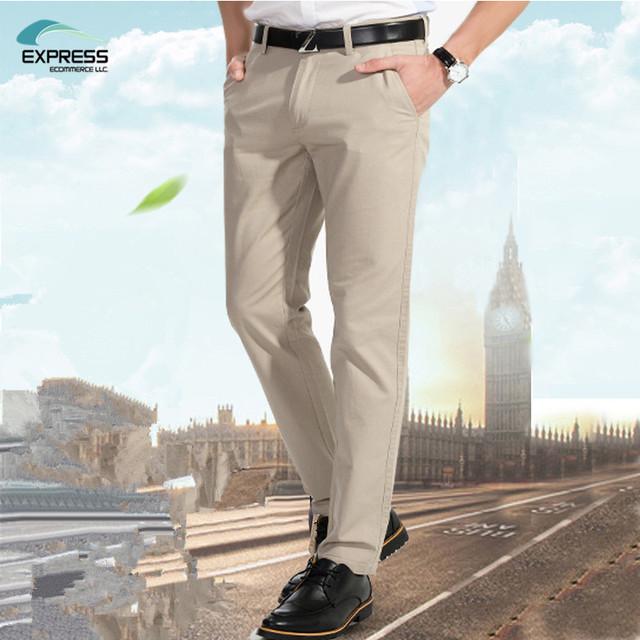 2017 de otoño e invierno de los hombres de negocios pantalones casuales pantalones delgados pies pantalones elásticos m negro khaki 29-40