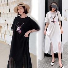White Balck Mesh Stitching Mermaid Dress Women Fashion Casual Summer New A-line Oversize Deer Printing Long