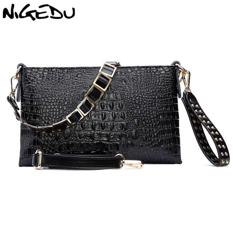 7978acd87c4b NIGEDU пояса из натуральной кожи женские клатчи мода крокодил сумка сумочки  с заклепками клатч Дамы Сумка