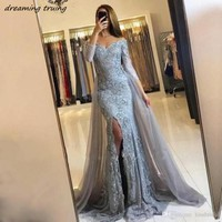 Silver Gray Long Sleeves Mermaid Evening Dresses DetachableTrain Side Split Muslim Off Shoulder 2018 Prom Formal Party Gowns