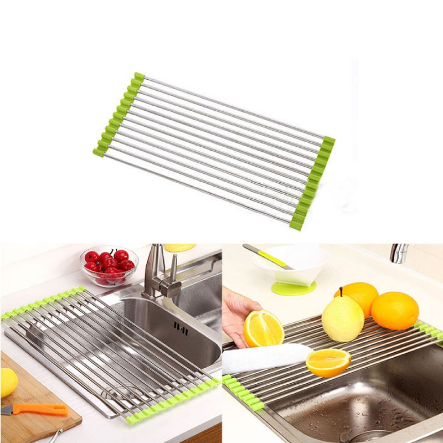 Foldable Kitchen Sink Rack Stainless Steel Dish Cutlery Drainer Drying  Holder Fruits Cup Dish Sink Rack