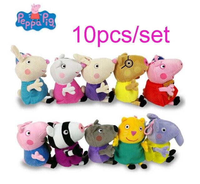10 pçs/set Genuíno Porco Peppa Brinquedos Porco Família peppa Atacado George amigos Bichos de pelúcia & Brinquedos de Pelúcia boneca de presente de aniversário