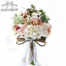 Perfectlifeoh buquê de casamento plantas buquê floral presentes rendas alça lembrança buquê jardim tema flores de casamento