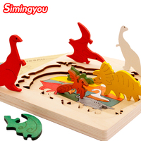 Simingyou 3D Wooden Puzzles Gift New Year Gift Kids Baby Wooden Learning Early Educational Toy Puzzle