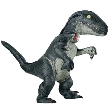 Купить с кэшбэком Jurassic World Adult Velociraptor Costume Cosplay Fantasy Inflatable T REX Raptor Dinosaur Party Halloween Costume for Women Men