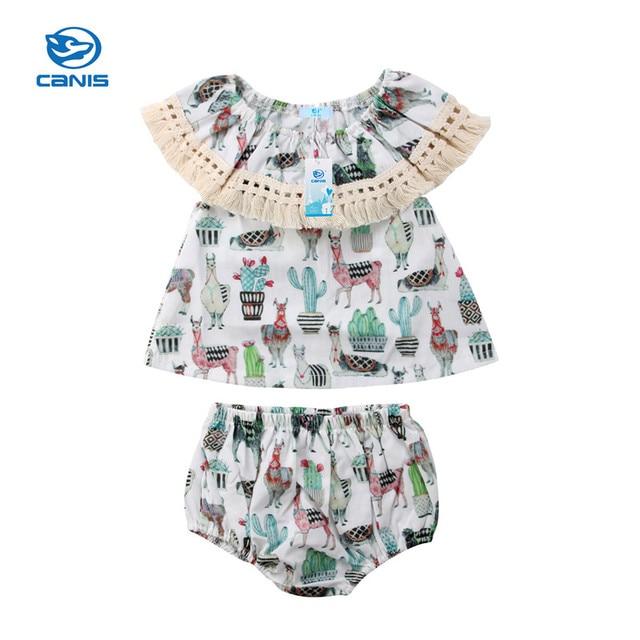 fae1dd4b7334 Summer Vintage Infant Toddler Baby Girl Clothes Set Animal Print ...