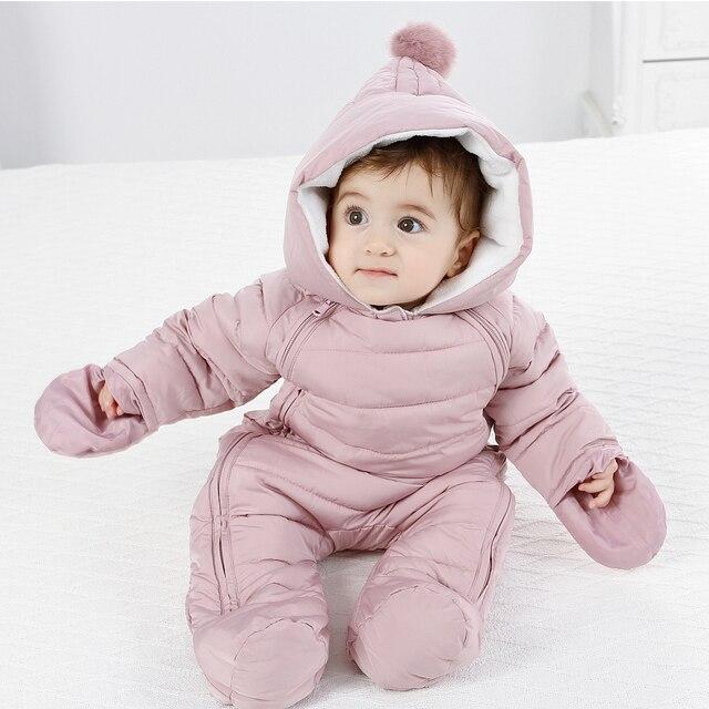 Winter Baby Snowsuit Romper Jumpsuit For Boy/Girl ,Newborn Snowsuit Winter Overalls For Baby Hooded Waterproof + Inner Fleece
