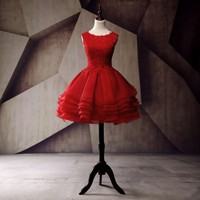 Red Short Prom Dresses For Teens 2017 New Style Ruffles Organza Vintage Lace Appliques Dress For