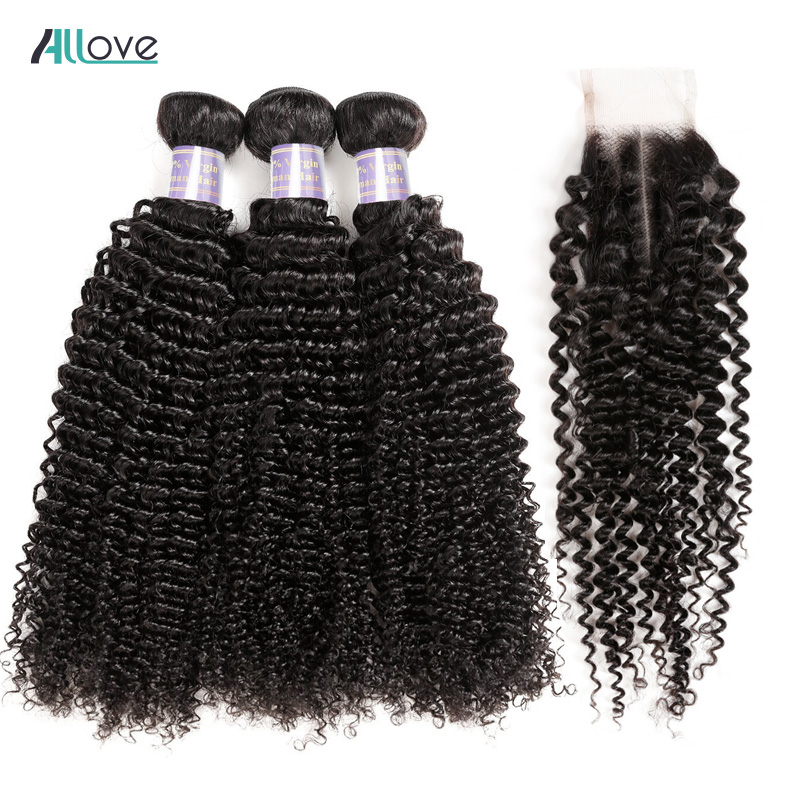 Allove Hair Kinky Curly Hair With Closure 100% Remy Hair Weaves - Menneskelig hår (for svart)