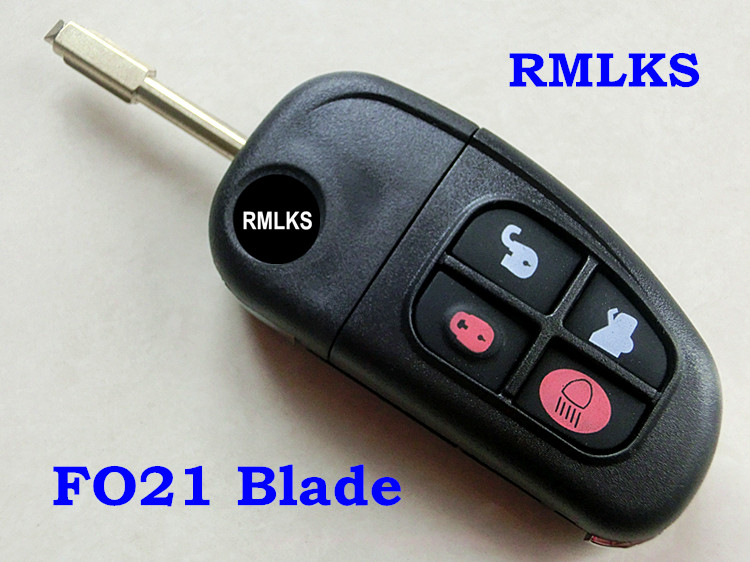 RMLKS Replacement Shell Flip Folding Remote Key Case Keyless Entry Fob 4 Button For For XJ8
