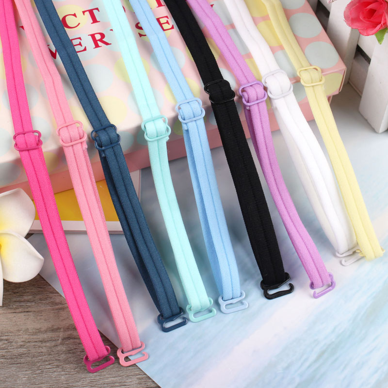 Super cute candy color elastic kawaii underwear straps black anti slip sexy bra accessories yellow 1cm lovely shoulder strap