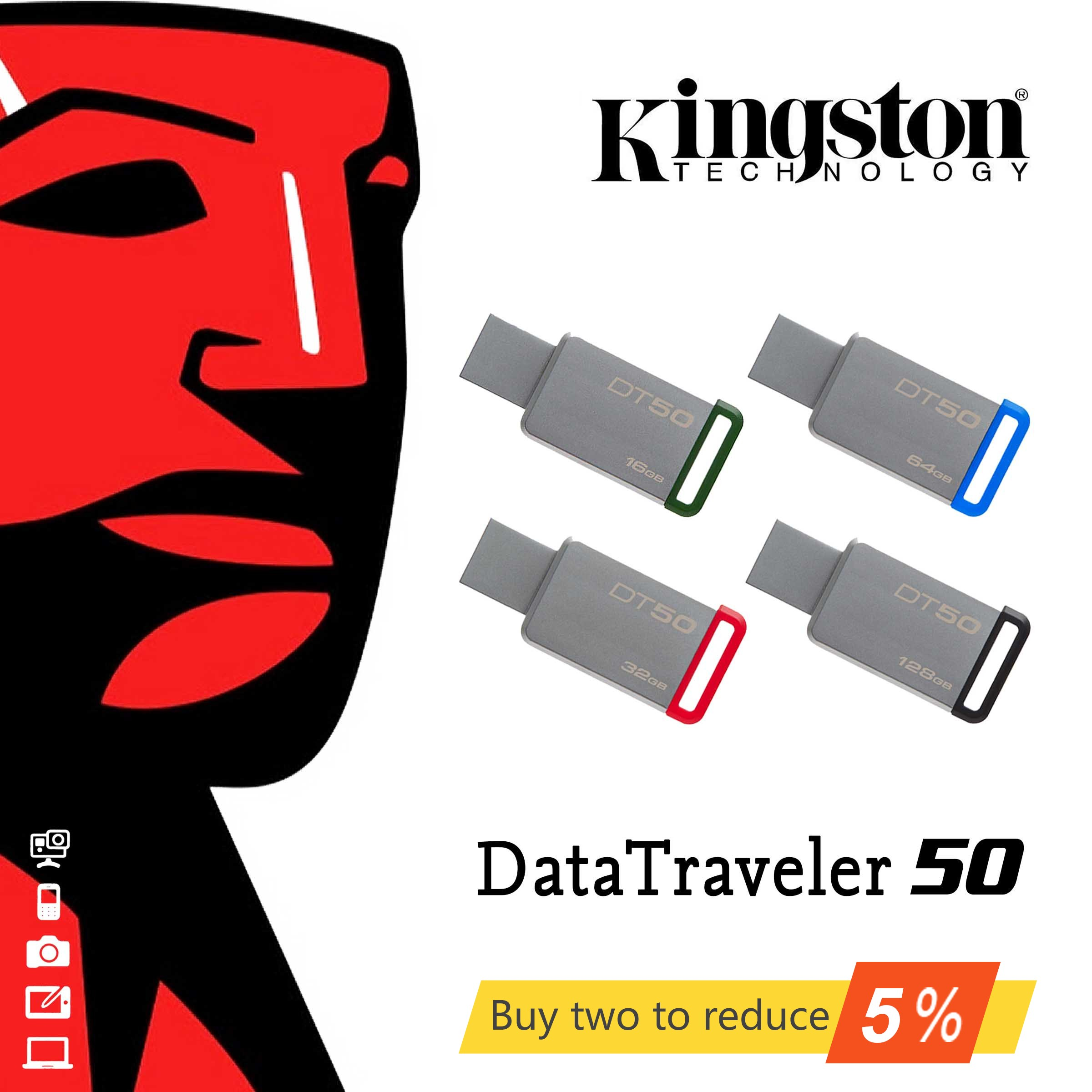 Aço inoxidável DT50 Original Kingston USB Drives Flash USB 3.1 GB 64 32GB 128GB U Disco USB Pen Drive Vara 16 32 64 Pendrives GB