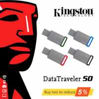 Aço inoxidável DT50 Original Kingston USB Drives Flash USB 3.1 GB 64 32GB 128GB U Disco USB Pen Drive Vara 16 32 64 Pendrives GB