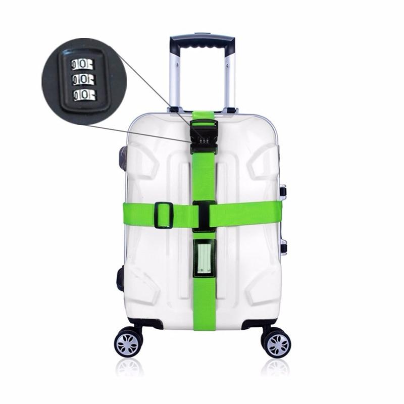Állítható nylon poggyász pántok nylon kereszt öv utazási bőrönd öv biztonságos poggyász jelszó zár csat öv poggyász övek
