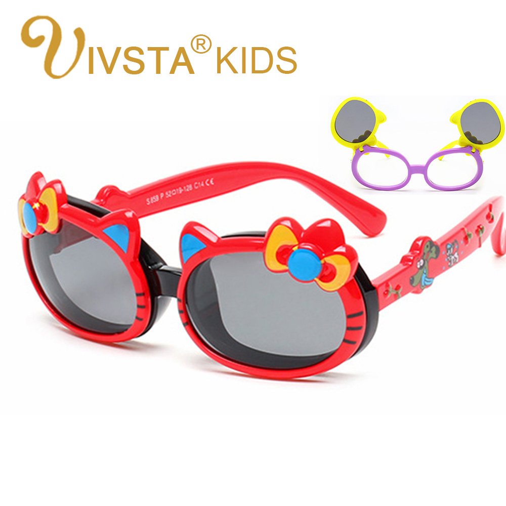 IVSTA hello Cat eye Flip Sunglasses Kids Girls Sun Glasses Polarized Cute Flap Polarized Lenses Pink Color birthday gift 859