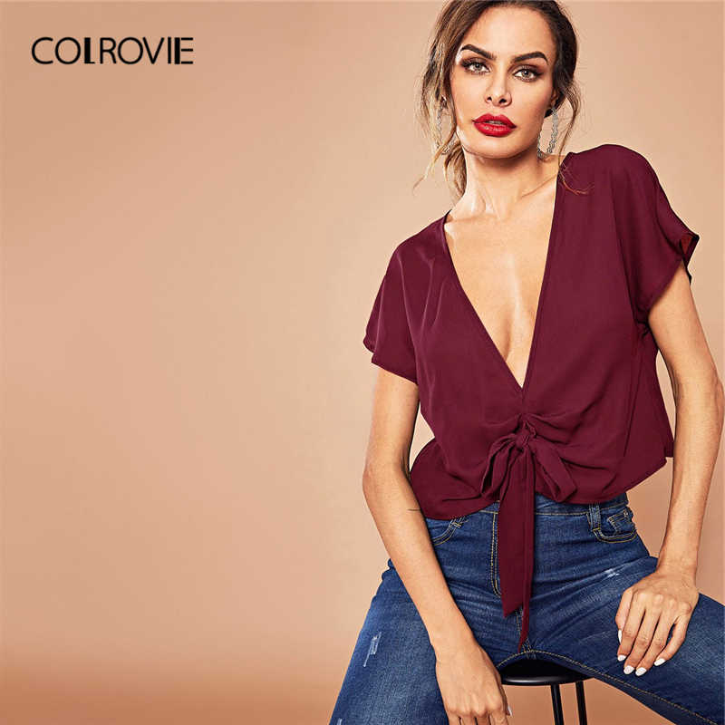 COLROVIE Zwart Solid V-hals Knoop Sexy Crop Blouse Shirt Vrouwen Shirts 2019 Bordeaux Koreaanse Cap Mouwen Office Dames Tops