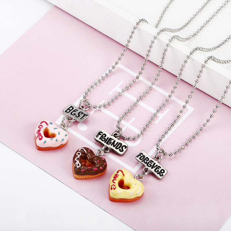 <font><b>3</b></font> pcs/set Best <font><b>Friends</b></font> Forever <font><b>BFF</b></font> Love Peach Heart Pendant <font><b>Necklace</b></font> Women Kid Girl Beads Chain Friendship Jewelry Gift image
